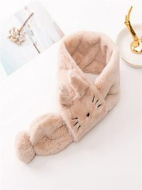 Children Kids Boys And Girls Velvet Cartoon Cat Keep Warm Wraps Scarf Scarves