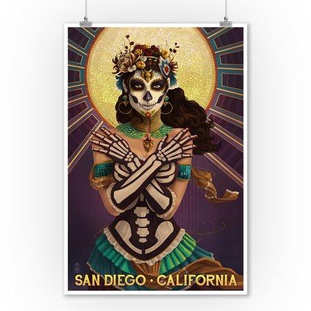 Day Of The Dead Decor (San Diego, California - Day of the Dead Crossbones - Lantern Press Artwork (9x12 Art Print, Wall Decor Travel)