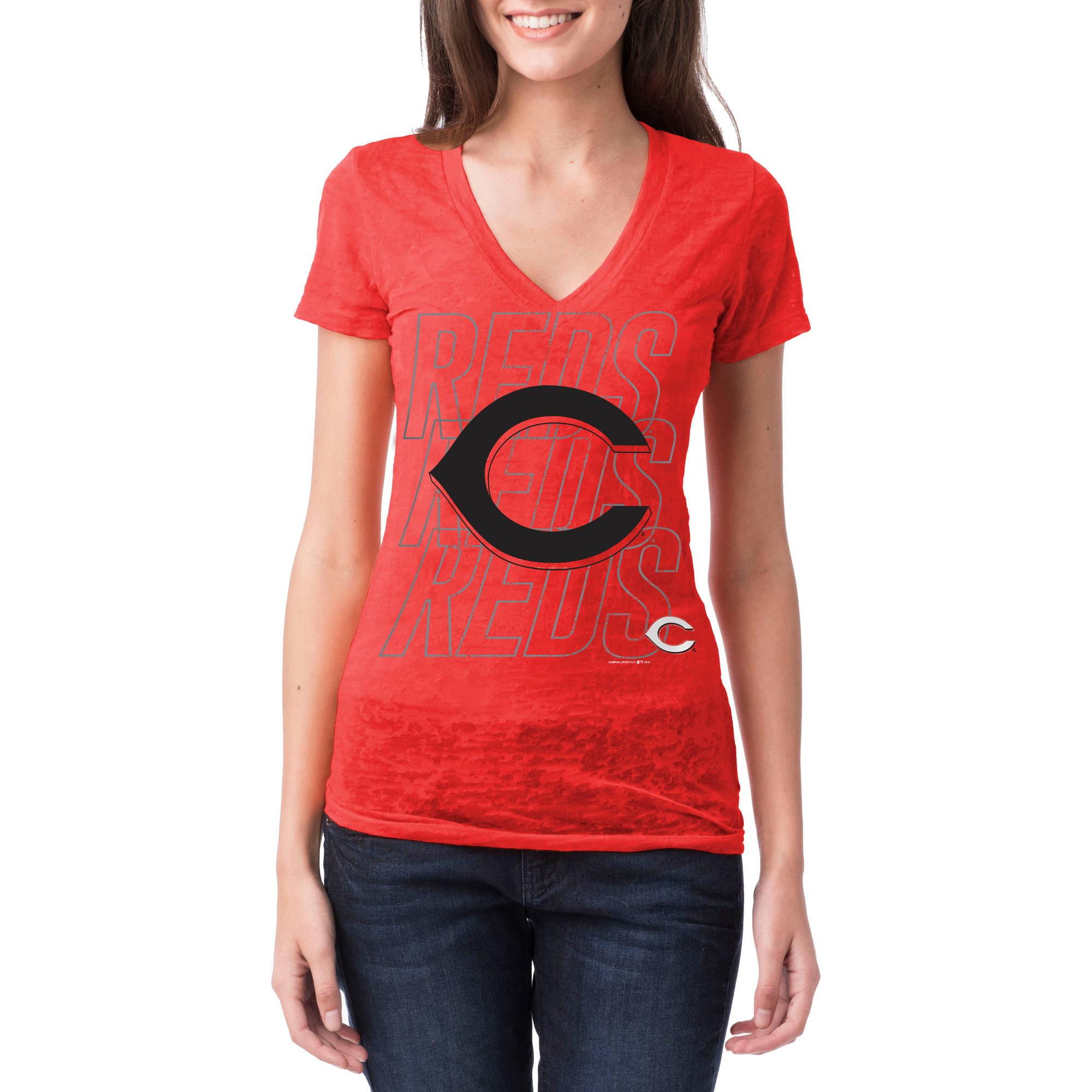 Cincinnati Reds Womens Short Sleeve Burnout Graphic Tee