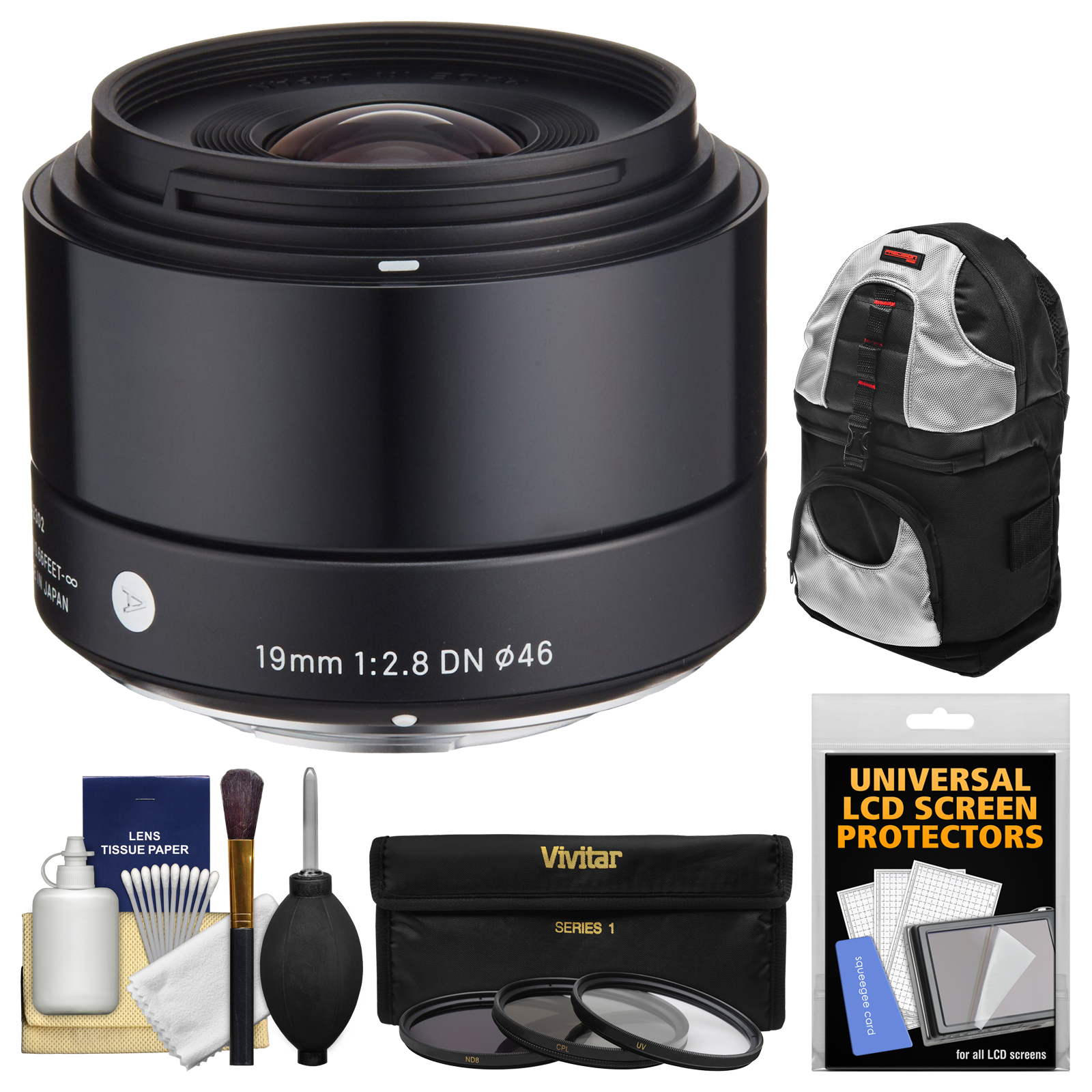 Sigma 19mm f/2.8 EX DN Art Lens with 3 UV/CPL/ND8 Filters + Sling Backpack + Kit for Olympus / Panasonic Micro 4/3 Digital Cameras