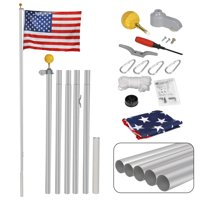 Zeny 16FT Sectional Flagpole Kit Outdoor Halyard Pole W/1 US American 3'x5' Flag, In-Ground Pole and Hardware
