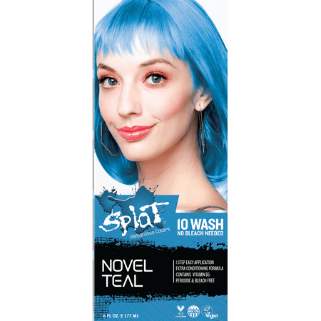 Splat 10 Wash No Bleach Hair Dye Novel Teal (White Halloween Hair Dye)