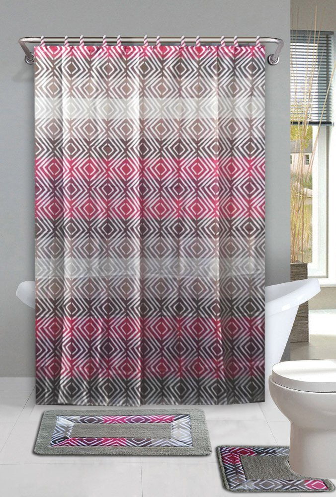 15pc TAUPE SUFYAN Bathroom Set Printed Banded Rubber Backing Rug Bath Mats  With Fabric Shower Curtain