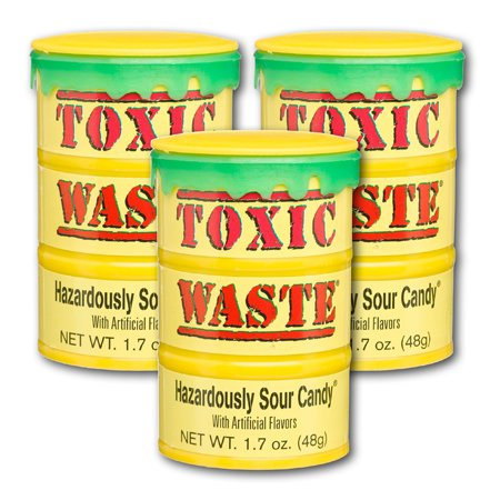 Toxic Waste 1.7 oz Drums Sour Display Sour Candy, 12 Ct (Halloween Toxic Waste Barrel)