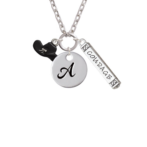 Black Cowboy Hat - A - Script Initial Disc Courage Strength Wisdom Zoe Necklace