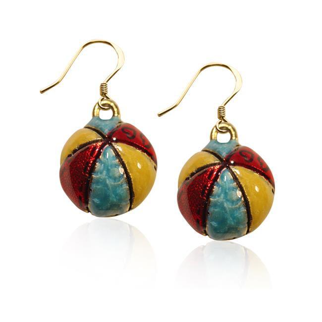 Whimsical Gifts 2875G-ER Beach Ball Charm Earrings in Gold