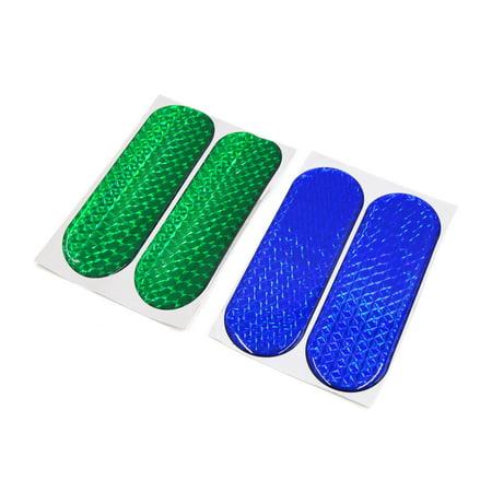 4Pcs Blue Green Reflective  Warning CarSelf-adhesive Reflector Sticker