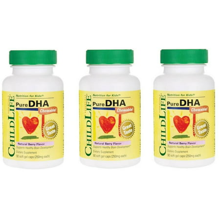 ChildLife -  Pure DHA Chewable, Natural Berry Flavor, 90 Soft Gel Caps - 3 Packs
