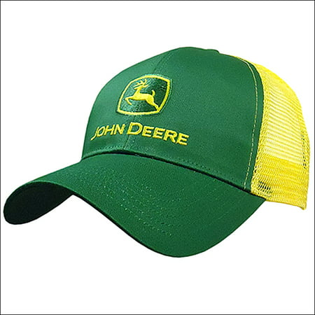 John Deere Embroidered Logo Mesh Back Baseball Hat - One-Size - Men