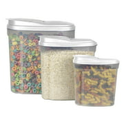 Home Basics Plastic Cereal Container with Lid Set (3 Pieces)