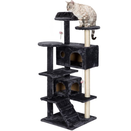 "51""Cat Tree Scratcher Condo,BALORAY Two Play Houses Cat Furniture Multi-Level Climber Sisal Cover Activity Centre Cat Tower Furniture - Tree for Kittens,Cats and Pets ()"