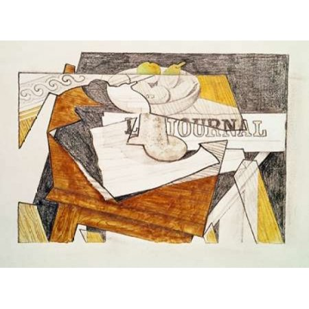 Still Life With a Newspaper and a Wooden Table Poster Print by  Juan Gris ()