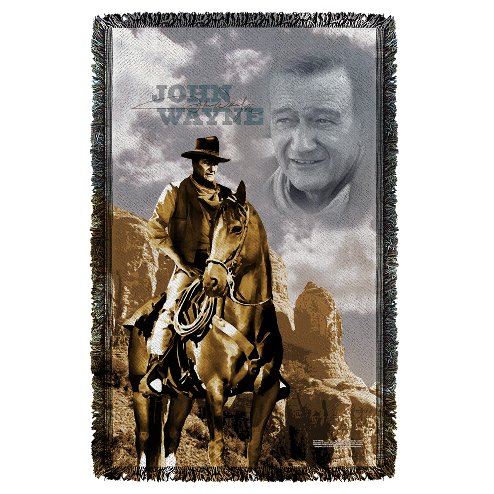 John Wayne Ride Em Cowboy Woven Throw White 48X80