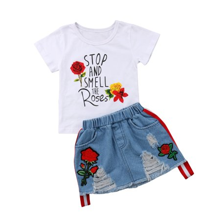 2Pcs Fashion Toddler Kids Baby Girls Summer Tops T-shirt Denim Dress Outfits Set Clothes - Denim Shirt Kids
