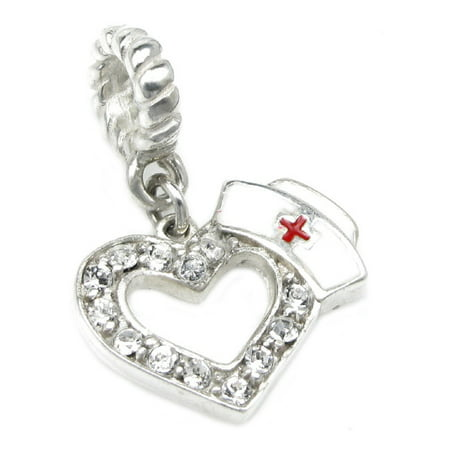 Queenberry Sterling Silver Cubic Zirconia RN Nurse Cap European Dangle Heart Bead Charm Fits Pandora