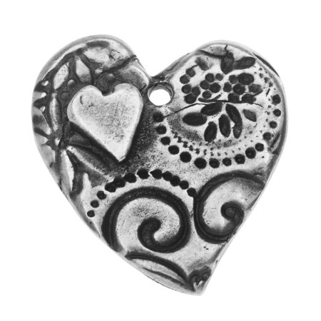 Amor Heart - TierraCast Charm, Amor Large Heart 22.5x26mm, 1 Piece, Antiqued Pewter