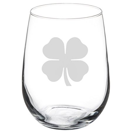Wine Glass Goblet 4 Leaf Clover (17 oz Stemless) (Leaf Wing)
