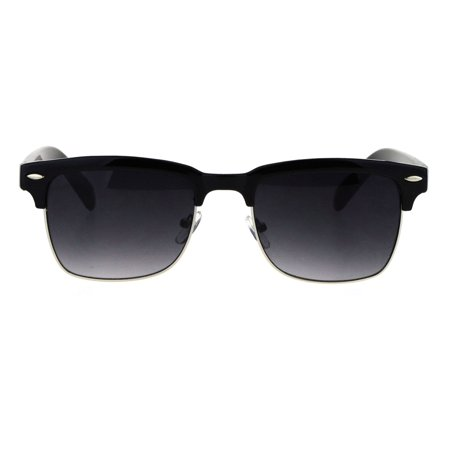 Mens Half Rim Rectangular Luxury Hipster Shade Sunglasses Black - Mets Sunglasses