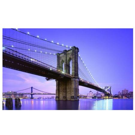 LED Lighted Famous New York City Brooklyn Bridge Canvas Wall Art 15.75