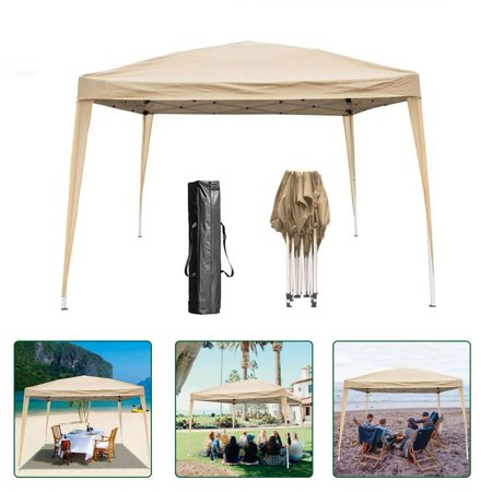 Zimtown Easy Pop Up Tent Wedding Canopy Gazebo without wall 10' x 10' Outdoor Khaki