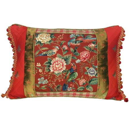 throw pillow canton garden 22x16 red polyrayon insert wool new hand embroi jk 21 - Canton Garden