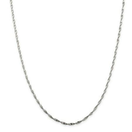 Sterling 20in Silver 2mm Twisted Herringbone Necklace - Twisted Herringbone