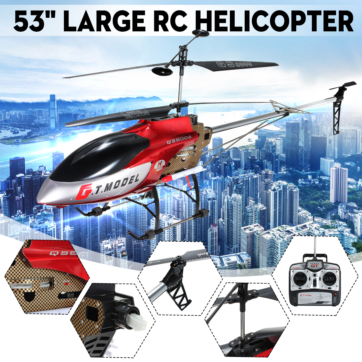 """Helicopter with Remote Control, 53"""" Extra Large RC Helicopter GT QS8006 2 Speed 3.5Ch Built in GYRO Helicopter RC Toy Gift"""