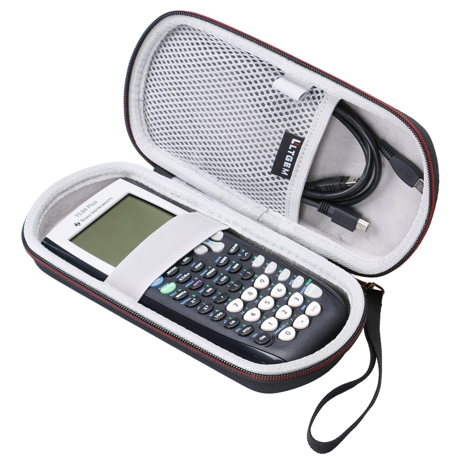 LTGEM Case for Texas Instruments TI-84, 89/83 / Plus / CE Graphics Calculator-Includes Mesh Pocket.(Hard and black)