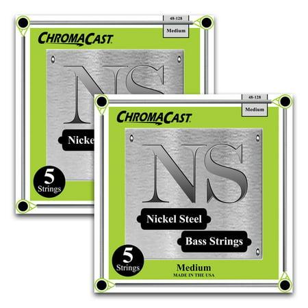 ChromaCast Nickel Steel 5-String Bass Guitar Strings, Medium Gauge(48-128), 2 Pack