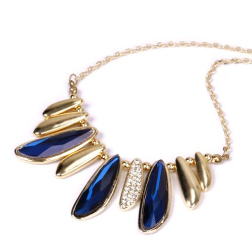 BMC Womens Gold Colored Alloy Metal Abstract Leaf Charm Fashion Chain Necklace