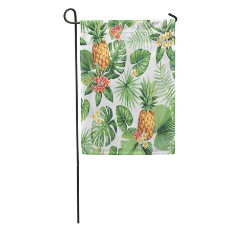 POGLIP Pattern Hawaiian Pineapples Tropical Palm Leaves and Flowers Leaf Vintage Garden Flag Decorative Flag House Banner 12x18 inch - image 2 de 2