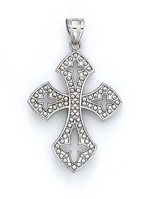 14k White Gold Gothic Style Cross Pendant 3 8 Grams