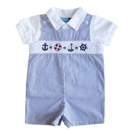Good Lad Newborn/Infant Boys Blue Seersucker Smocked Shortall Set with Nautical Themed Embroideries