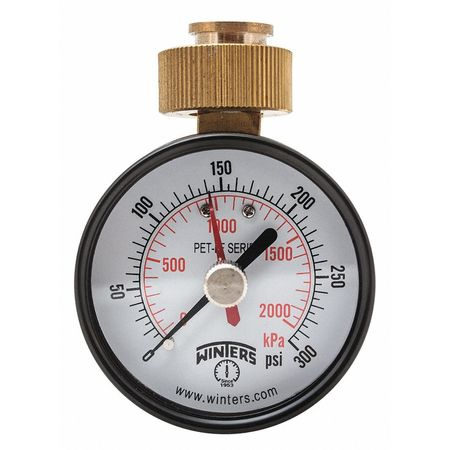 Max Pointer Test Gauge,2.5 in.,0-300psi WINTERS PETM217LF