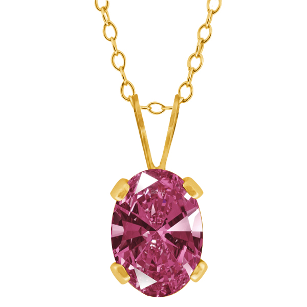 0.76 Ct Red 925 Yellow Gold Plated Silver Pendant Made With Swarovski Zirconia