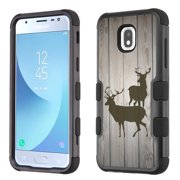 3-Layer Case for Samsung Galaxy J3 Orbit, OneToughShield ® ShockProof Protective Phone Case (Black) - Wood/Deer