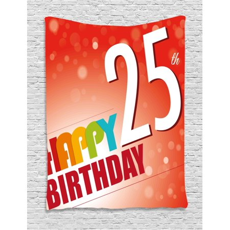 25th Birthday Decorations Tapestry Abstract Background With Colorful Letters Artistic Happy Ceremony Wall Hanging