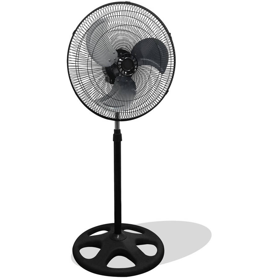 """Premium Large High Velocity Industrial Floor Fan with 18"""" Floor Stand Mount and Oscillation, Cool Black and Silver"""
