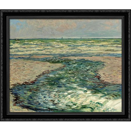 The Seacoast Of Pourville  Low Tide 34X28 Large Black Ornate Wood Framed Canvas Art By Claude Monet