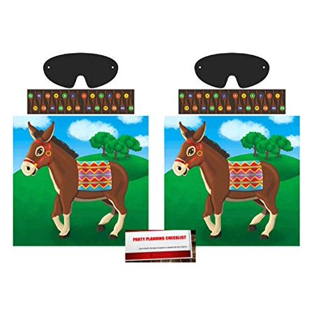 (2 Pack) Original Pin The Tail on the Donkey Game (Plus Party Planning Checklist by Mikes Super Store)