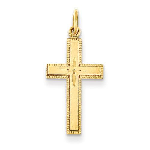 14k Yellow Gold D/C Latin Cross Pendant