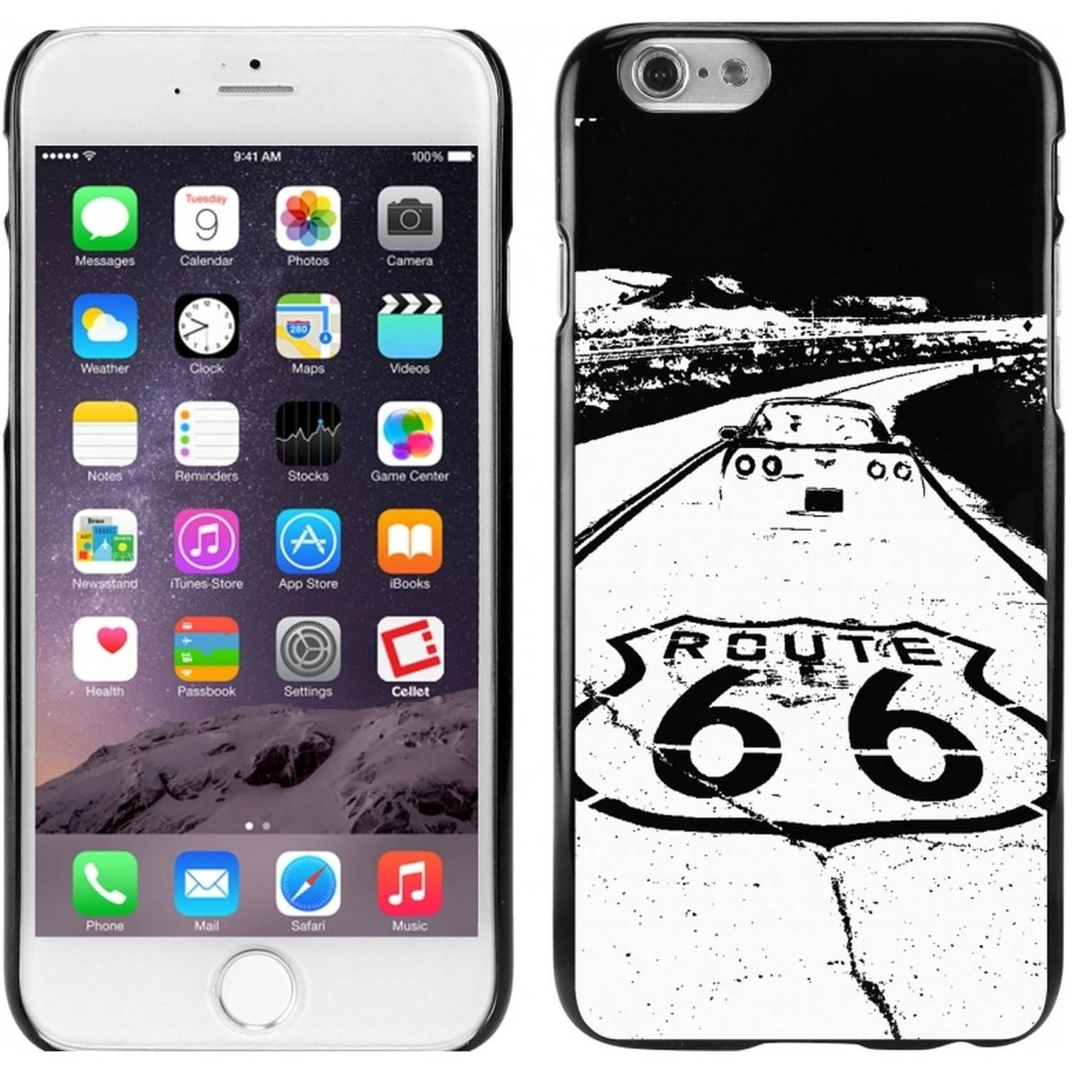 Cellet Black Proguard Case with Route 66 for Apple iPhone 6