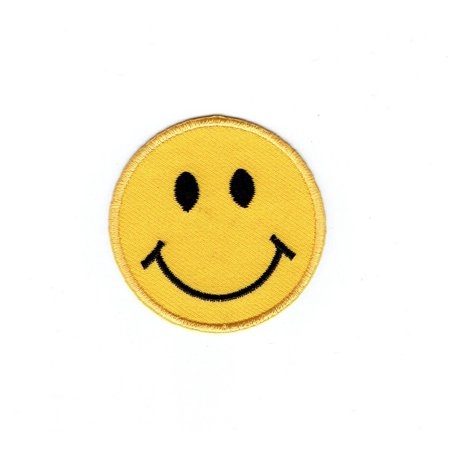 Ribbon Emoji (SMALL - Smiley Face Emoji Yellow Emotion - Iron on Applique - Embroidered)