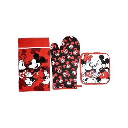 Mickey & Minnie 3Pc Kitchen Set Oven Mitt Pot-Holder Dish Towel