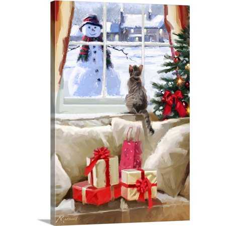 "Great BIG Canvas | ""Cat At Window"" Canvas Wall Art"