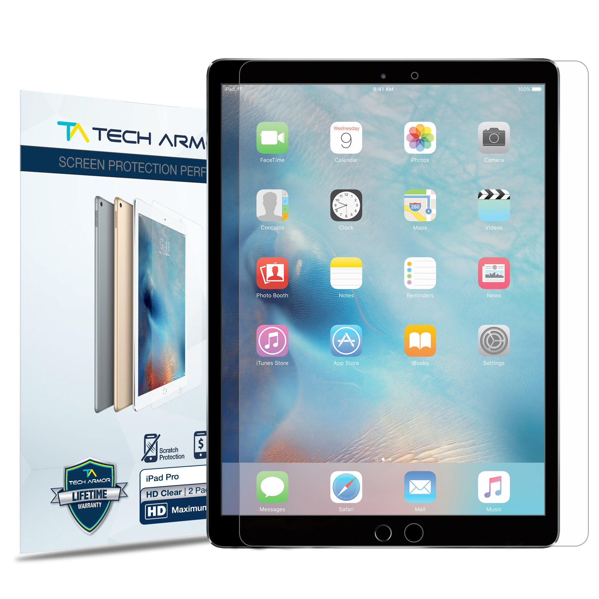 "iPad Pro (12.9"") Screen Protector, Tech Armor High Definition HD-Clear Apple iPad Pro 12.9-inch Film Screen Protector [2-Pack]"