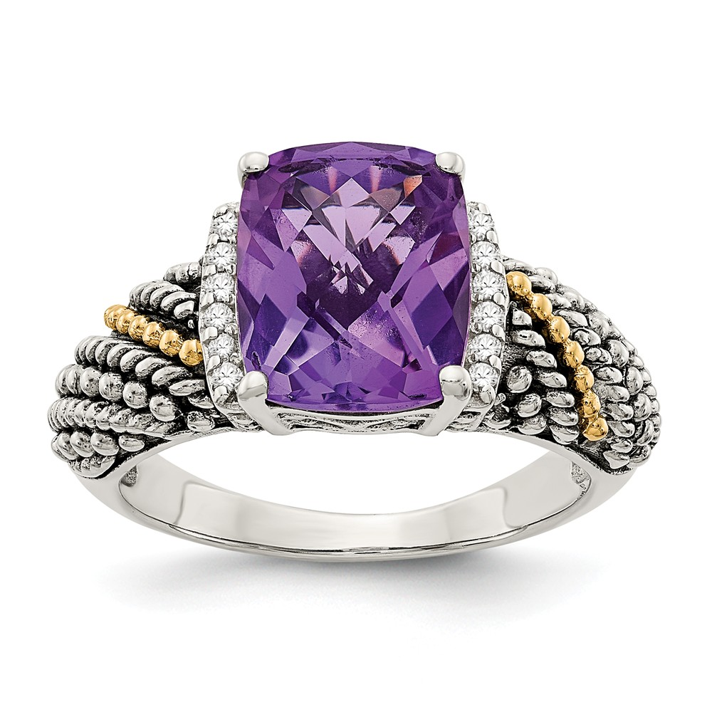14K Gold and 925 Sterling Silver Two-Tone (0.06cttw) with Diamond and Amethyst Ring Size-8 by