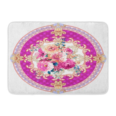 GODPOK Drawing Blossom Fragrant Flowers Blossoming All Year Round The Leaves and Design Deformation Gouache Rug Doormat Bath Mat 23.6x15.7