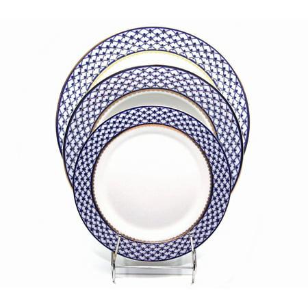 - Place Setting 3-pcs, Lomonosov Porcelain, Russian Cobalt Blue Net, 24K Gold