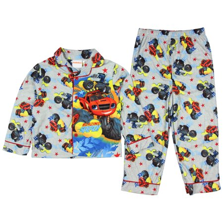 Blaze and the Monster Machines Toddler Boys Button Down Flannel Pajama Set